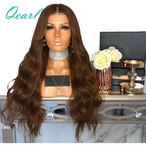 Image 1 - Brown Body Wave Human Hair Full Lace Wigs 180% Brazilian Remy Hair Pre Plucked Middle Part Wavy Wig With Baby Hair Qearl