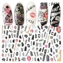 Nail wraps Newest F438 lettering design 3d nail manicure back glue decal decoration nail sticker for nail art 3d nail art fimo soft polymer clay fruit slices cartoon for nail manicure sticker cell phones diy designs wheel decoration czp35