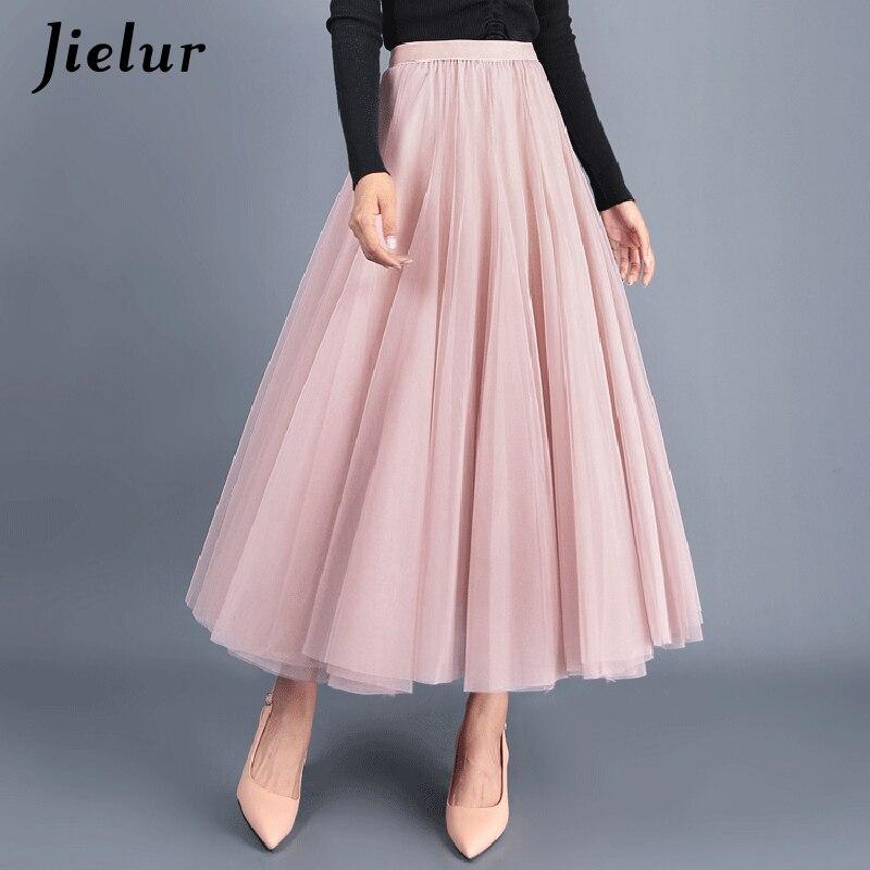 Jielur 3 Layers Black Beige Pink Tulle Skirts Womens Vintage High Waist Tutu Mesh Pleated Saia Female Jupe Longue