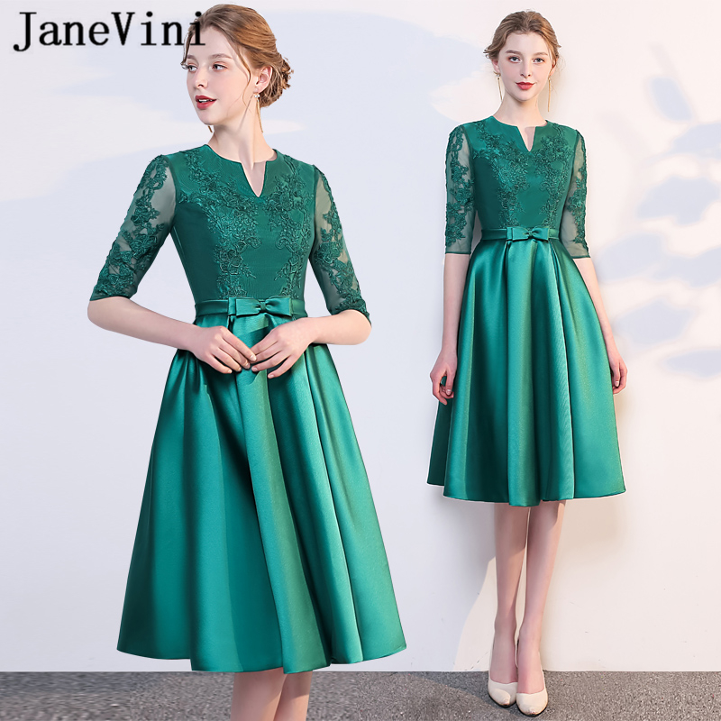 Knee Length Emerald Green Bridesmaids Dresses