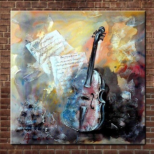 Réduit Peint à La Main Moderne Abstrait Toile Art Guitare