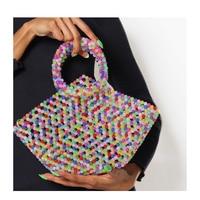 pearls bag beading basket totes bag women party plastic handbag 2018 summer beach bag luxury brand wholesale dropshipping