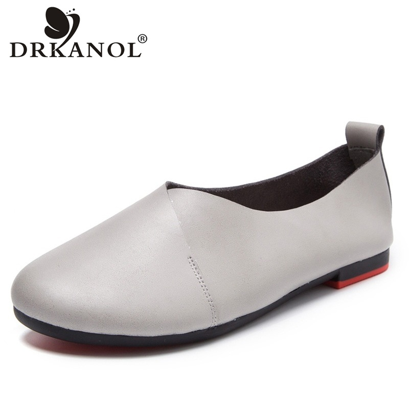 DRKANOL 2018 Genuine Leather Women Loafers Summer Slip On Flat Casual Shoes Black White Flats Moccasins Ladies Ballet Shoes beyarne women ballerina flats casual shoes genuine leather slip on ballet ladies soft moccasins white green blue peach