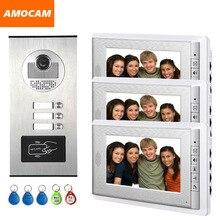 3 Units Apartment intercom system Video Door Phone Door Intercom Aluminum Alloy Camera 7″ Monitor video Doorbell 5-RFID Card