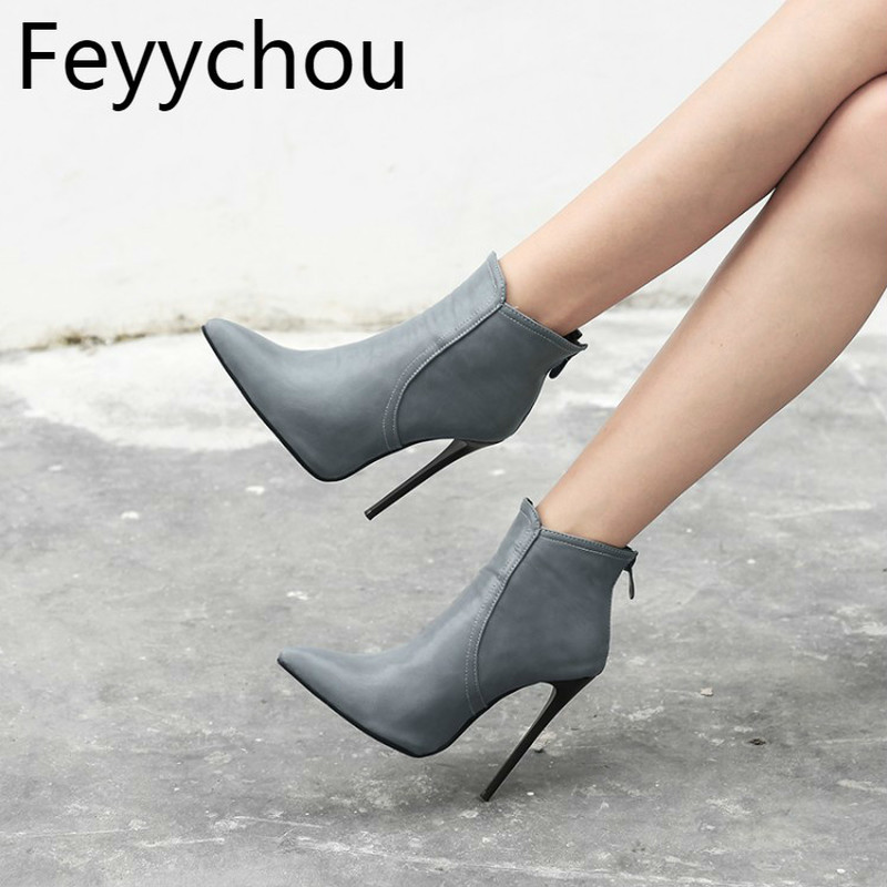 Women Boots Autumn Winter Super High <font><b>Heel</b></font> Warm Pu Pointed Toe Zip Ankle Chelsea <font><b>Shoes</b></font> <font><b>2018</b></font> <font><b>Sexy</b></font> Fashion Casual Black Size 34-48 image