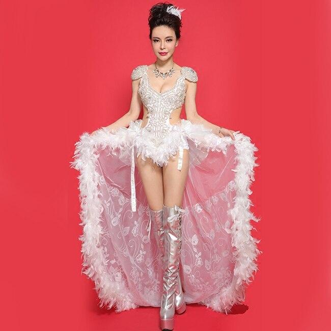 New Fashion Multi Color Rhinestone Jazz Hip-hop Bodysuit Women Sexy Ds Dance Night Costumes Female Singer Prom Stage Wear Dress