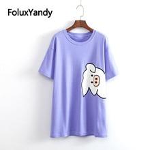 купить 2019 New Cute Cartoon Tops Women T-shirt Plus Size XXXL 4XL Casual Loose Short Sleeve Summer Long Tops KKFY3547 по цене 971.11 рублей