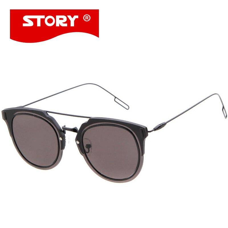 Vintage Metal Frame Glasses : STORY Luxury Brand Flat Lens sun glasses Women Designer ...