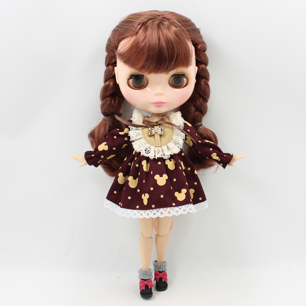 blyth doll clothes brown blue outfit lolita dress for girl 1/6 toy gift