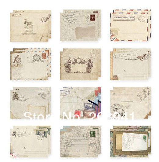 240pcs/lot  New Vintage European Style Students' Funny Mini Gift  For Kids Birthday Invitation Greeting Card