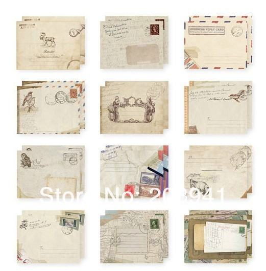 240pcs/lot  New Vintage European style students funny mini gift  for kids birthday invitation greeting card