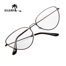 feb5943f43e38 KUJUNY Metal del ojo de gato gafas marco moda Oversized Plain Glasses hombres  mujeres Retro lente transparente gafas marcos