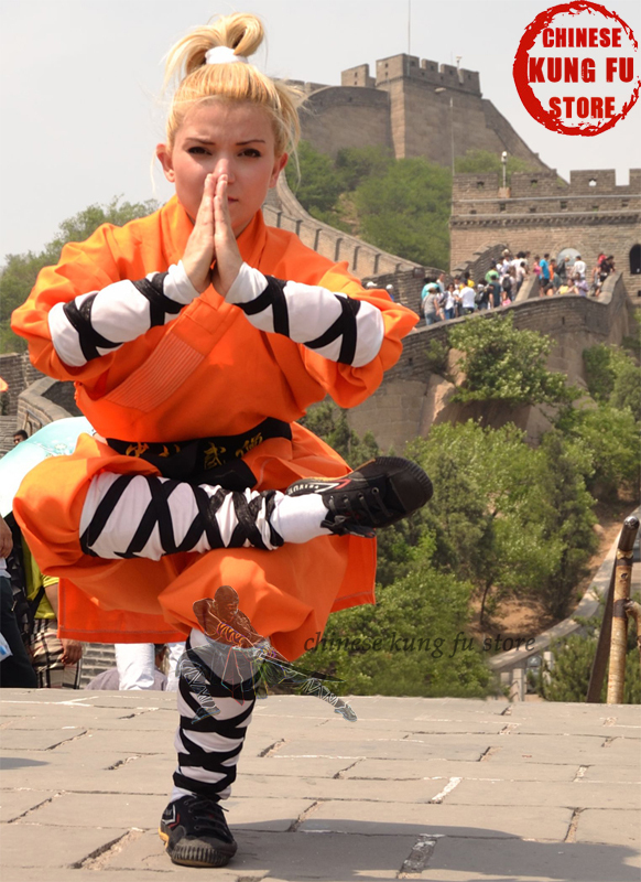 Orange Cotton Shaolin Kung Fu Suit Buddhist Monk Robe Martial Arts Tai Chi Wing Chun Karate Taekwondo Uniforms