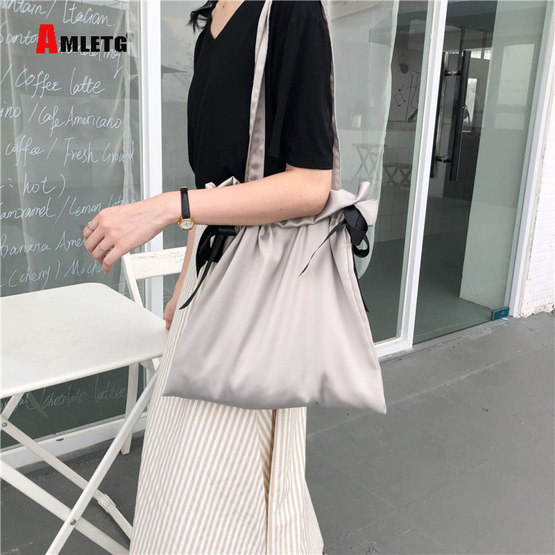 AMLETG Canvas Bag Personality Simple And Restrained Design Wild Satin Silk 4 Color Shopping Bag Bundle Pocket Drawstring Bags