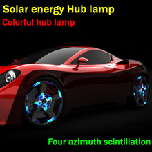 Car Decoration Solar energy Hub Lamp car refit Wheel LED flashover 2pcs