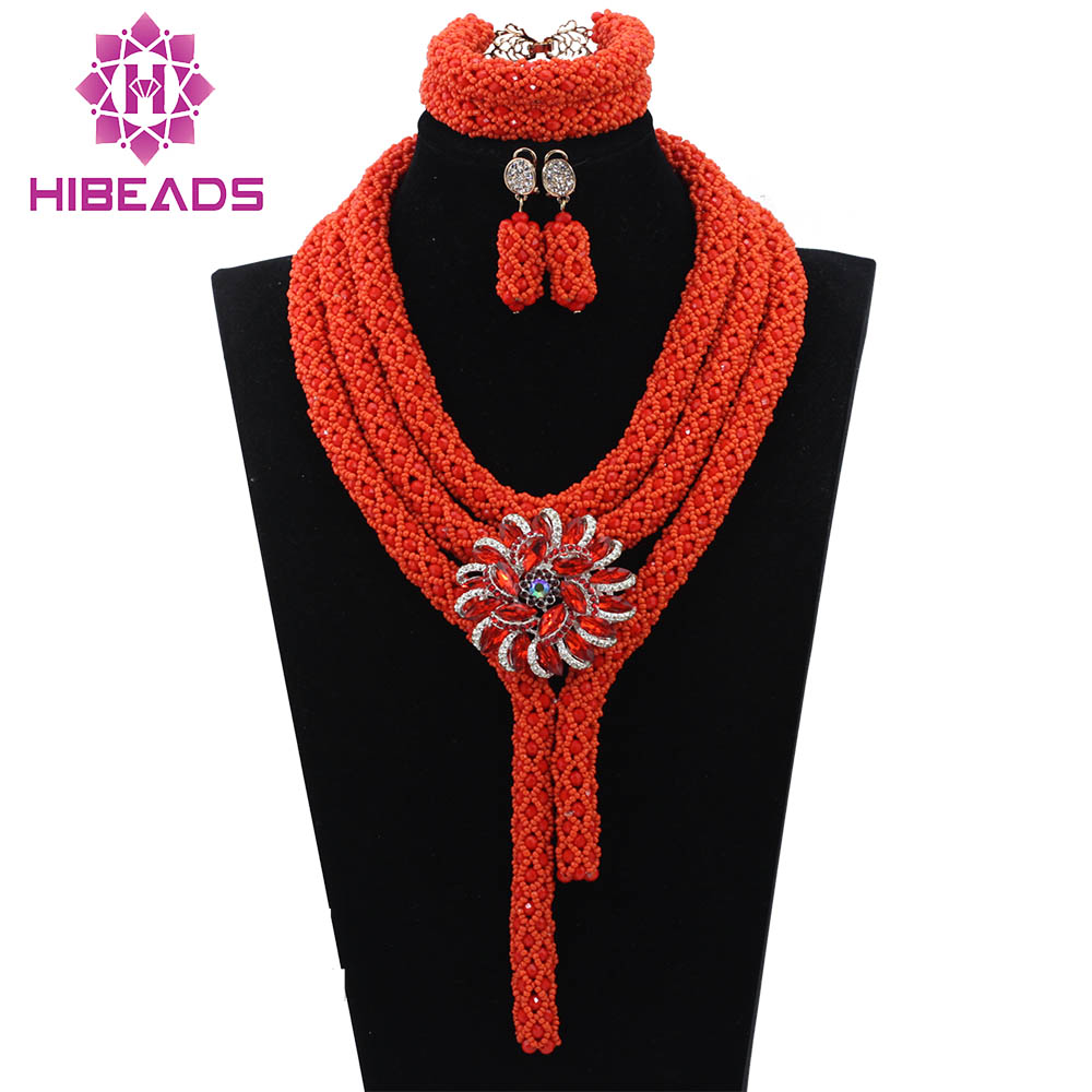 2017 Classic Orange Nigerian African Beads Jewelry Set Wedding Party Dinner Fashion Dress Jewelry For Women Free Shipping WD830