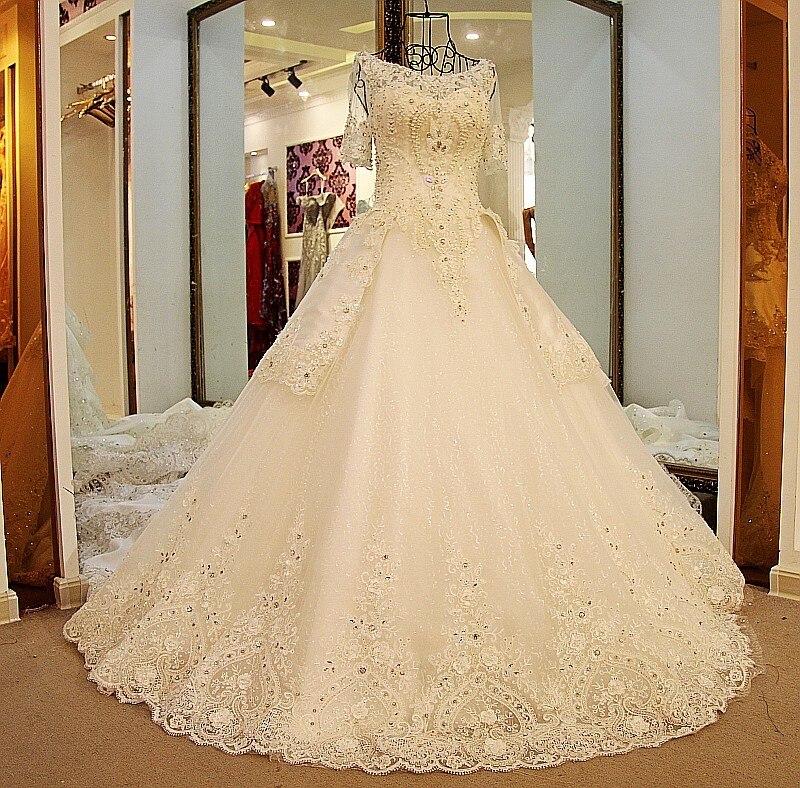 Glitter Wedding Gowns: Backlake Glitter Wedding Dresses Short Sleeves Lace Up