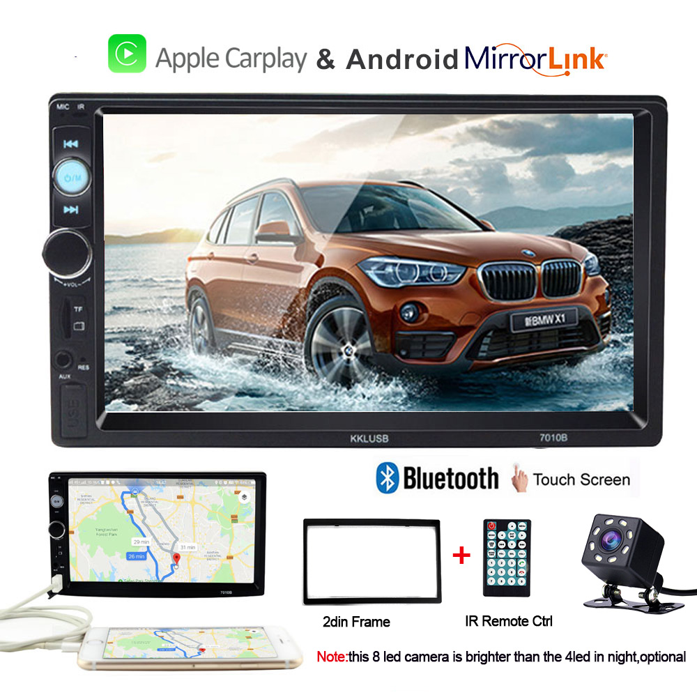 Multimedia Car Radio 2 din player autoradio with rear view camera for Carplay Mp4 Mp5  7'' Bluetooth auto stereo touch screen-in Car Multimedia Player from Automobiles & Motorcycles