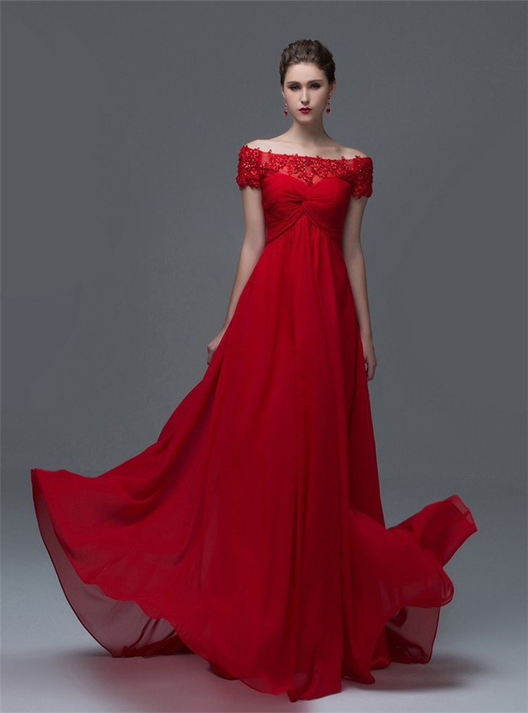 Pleated Red Wedding Dress Chiffon Draped Short Sleeve