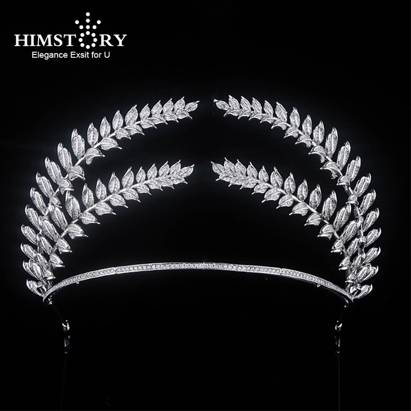 HIMSTORY Big Paved Zircon Crown Full Cubic Zirconia Tiara CZ Tiaras Vintage Leaf Branch Bridal Diadema Wedding Hair Accessories HIMSTORY Big Paved Zircon Crown Full Cubic Zirconia Tiara CZ Tiaras Vintage Leaf Branch Bridal Diadema Wedding Hair Accessories