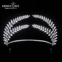 HIMSTORY Big Paved Zircon Crown Full Cubic Zirconia Tiara CZ Tiaras Vintage Leaf Branch Bridal Diadema Wedding Hair Accessories цена в Москве и Питере