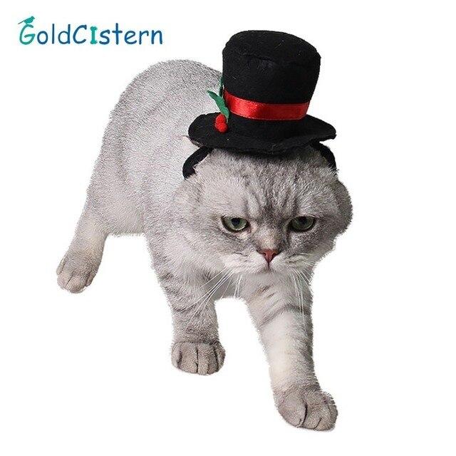 Mascotas perro gato sombrero Navidad ornamento negro sombrero de ...