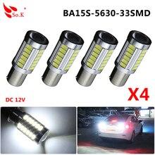 4pcs lot S25 P21W 1156 BA15S 5630 33SMD 5730 LED High Power Led Car Auto Led