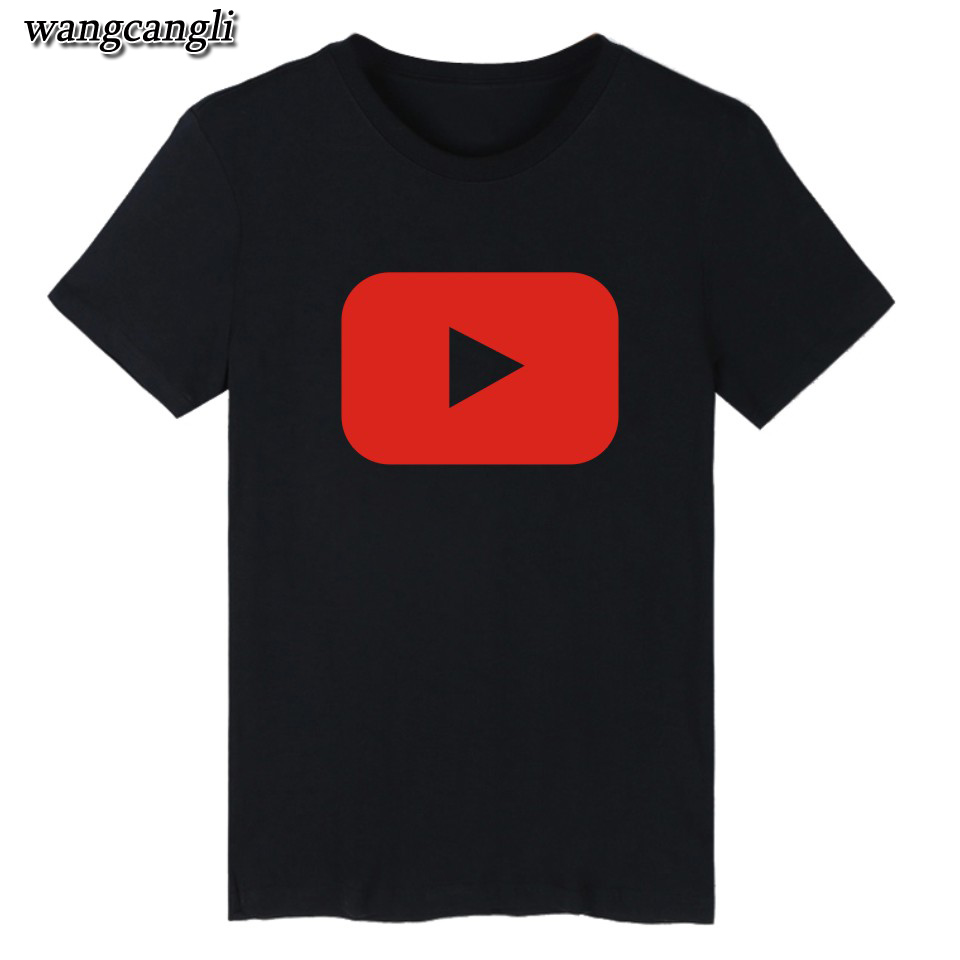 2016 Funny Youtube Logo Black Printed Cotton T shirt Men with 4XL You Tube Men T