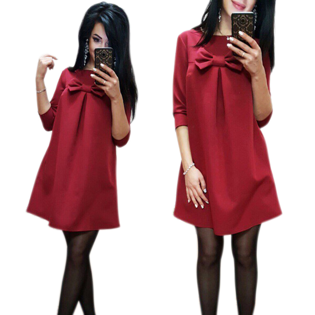 New Women Cute Bowknot Loose Straight Dress Solid Color Half Sleeve Autumn Dresses MV66