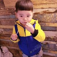 Nuevo otoño de la buena calidad de los niños del bebé patrón de color amarillo ropa de niño niña de dibujos animados cremallera chaqueta de algodón amarillo tops prendas de abrigo
