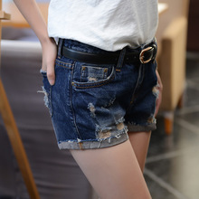 The new female denim shorts jeans female low-waist shorts 2016 women's jeans female Korean hole denim shorts curling 9905-1