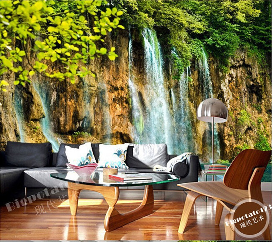 The latest 3D murals,beautiful green tree branches leaves stone waterfall scenery, living room TV sofa bedroom wall paper the latest 3d murals dream of the sun exposure forest trees stone waterfall scenery living room tv sofa bedroom wall paper