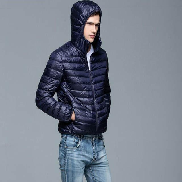 US $20.56 35% OFF|2019 wiosna i jesień nowe męskie Boutique kaczka pióro mody stały kolor szczupła rozrywka dół kurtkimęskie cienkie płaszcz puchowy