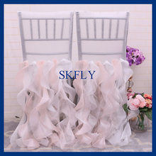 CH005EA nice popular SKFLY standard chiavari ruffled blush pink and ivory curly willow chair cover(China)