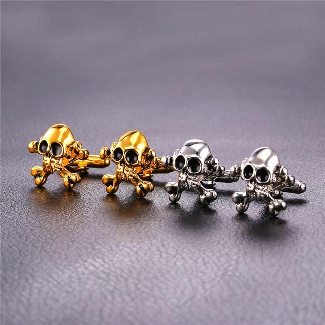Golden Silver Skeleton Skull Cufflink