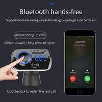 led music SRUIK Car FM Transmitter Fm Modulator Bluetooth 5.0 USB Car Charger Kit Hands-Free Calling Music Player Night Vision LED Light (5)