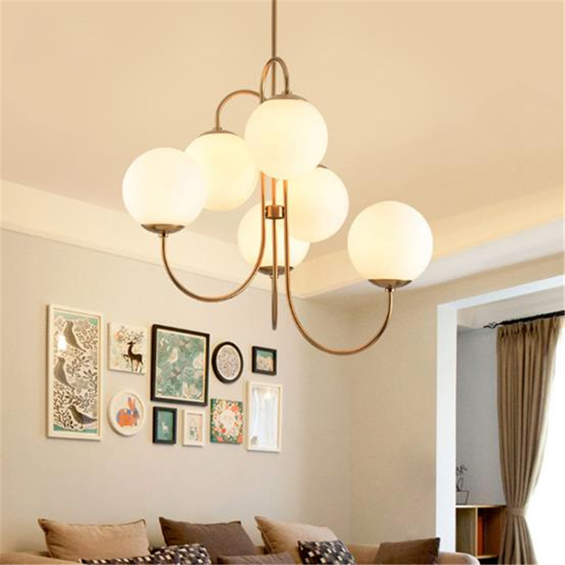 Nordic Art Post-modern Restaurant Glass Ball Chandelier American Gold  Living Room / Bedroom Creative Ball Light  Free Shipping цена и фото