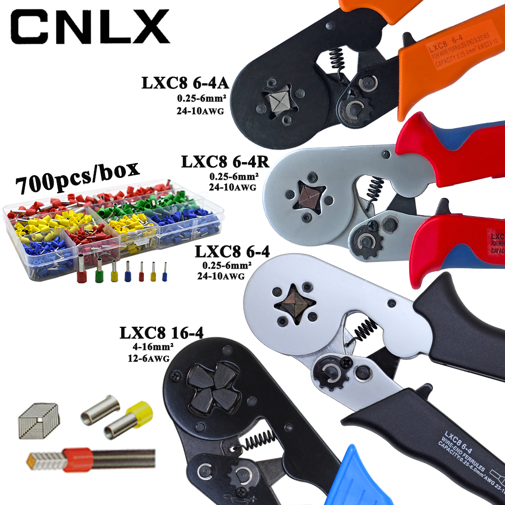 LXC8 10S 0.25-10mm2 23-7AWG LXC8 6-4/6-4A 0.25-6mm2 LXC8 16-4 Crimping Pliers Electric Tube Terminals Box Mini Brand Clamp Tools