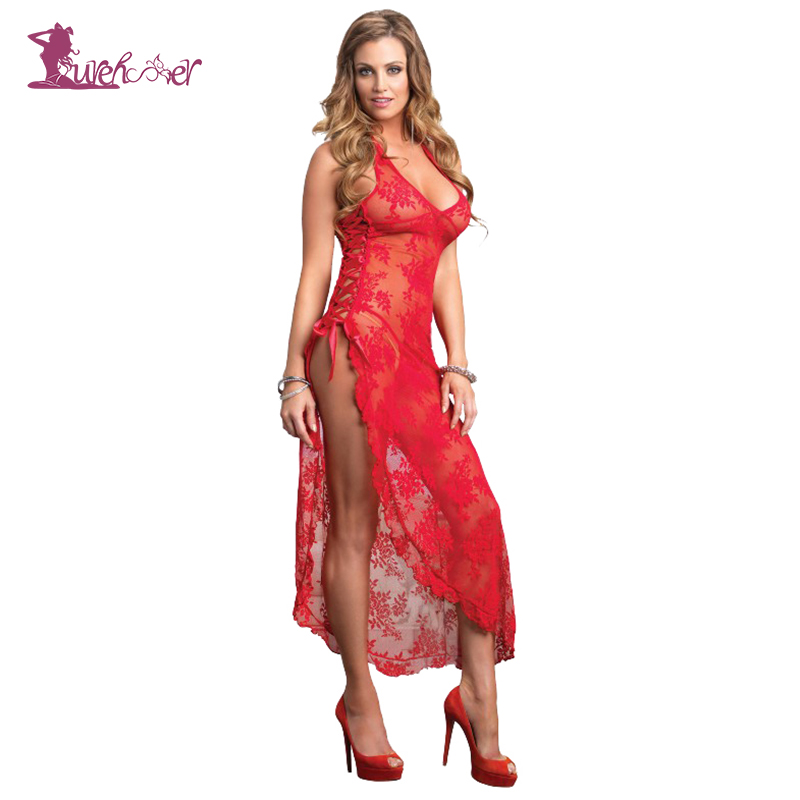 Lurehooker 2017 Plus Size Sexy Erotic Lingerie Hot Black Red Perspective Lace Hater Sleep Long Dress Split Nightgown +T-thongs