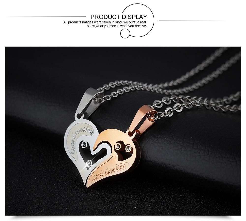 ОПК пара «любящее сердце» Подвески ожерелье для любовника инкрустированные стразами cz. цвета розового золота Цвет Нержавеющая сталь 537