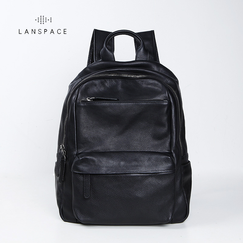 LANSPACE men's cow leather backpack fashion genuine leather backpack brand functional bag