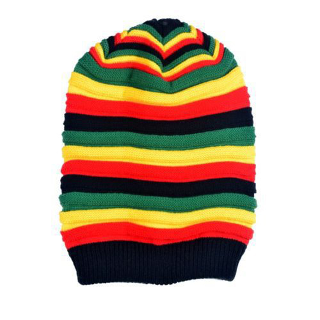 New Unisex Colorful Stripes Caps Warm Soft Wool Knitted Hats Winter Autumn Leisure