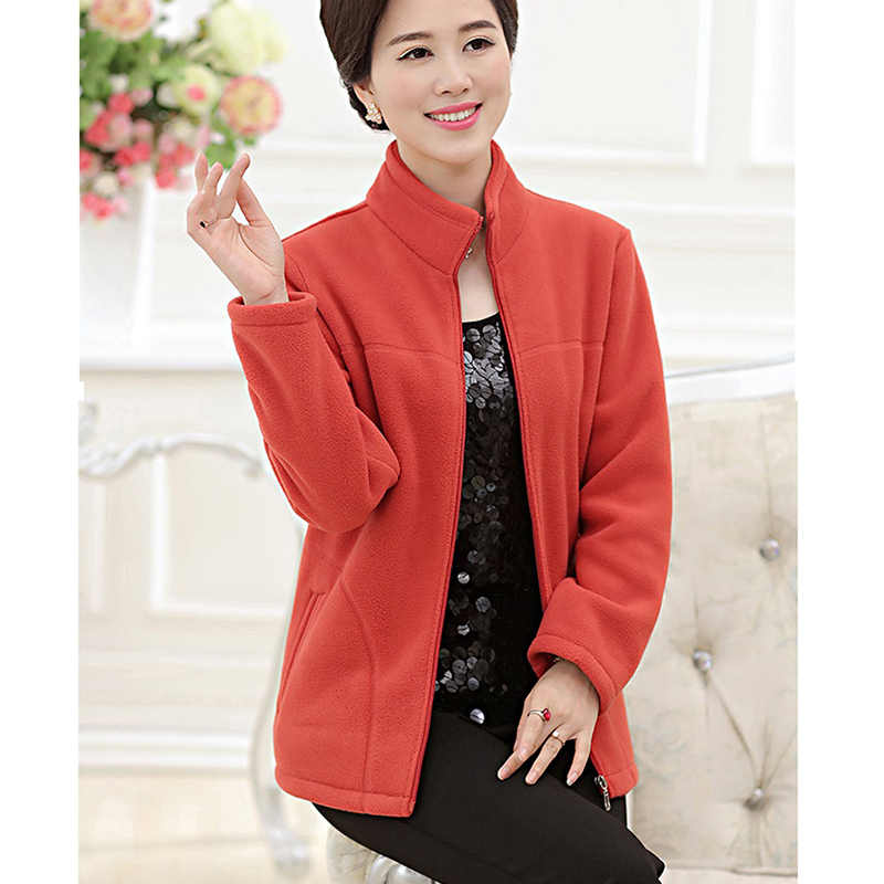 Autumn winter wear plus velvet thick Coat ladies wear sports outdoor plus size fleece jacket stand collar fleece sweater women
