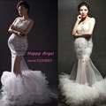 Nova maternidade fotografia Props traje mulheres grávidas longo sereia vestido elegante moda princesa Baby Shower frete grátis