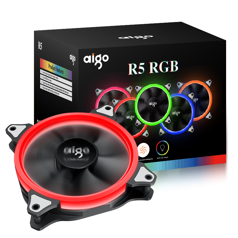 все цены на Aigo fan octave space R5 computer desktop fan box 12 cm aurora aperture water cooling fan онлайн
