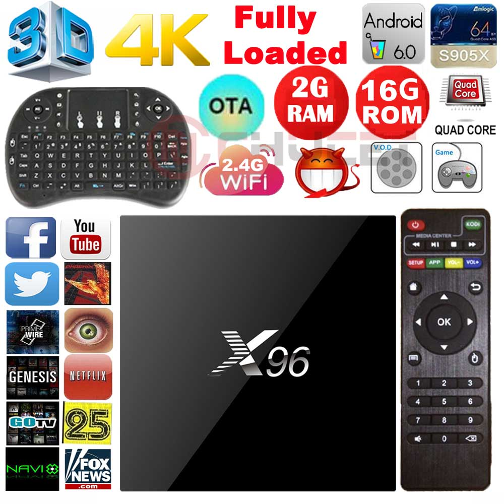 Prix pour Chycet D'origine X96 2G 16G Android 6.0 TV Box Amlogic S905X Quad Core WIFI HDMI 2.0 4 K 3D Media Player Smart tv box Set top box