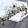 New Fashion Luxury Black Crystal Queen Crown beauty contest princess Gold Diadem for Ladies Bride Wedding Hair Accessories