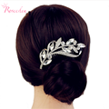 New Arrrivel Rhinestone Horse Eye and Leaves Clear Crystal Hair Combs Clip Women Wedding Accessories Bridal Hairpin RE221