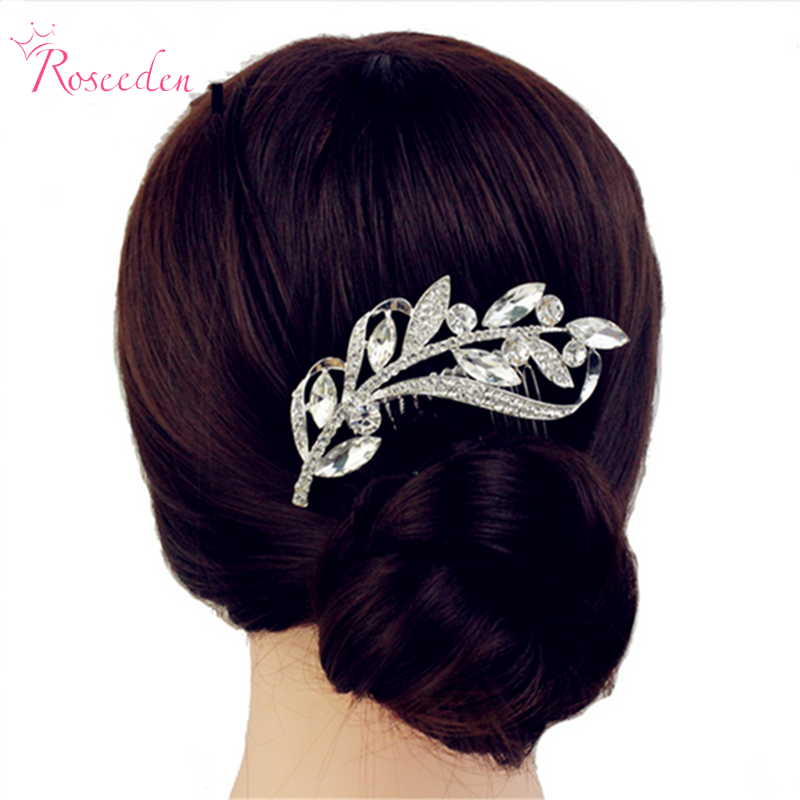 New Arrrivel Rhinestone Horse Eye and Leaves Clear Crystal Hair Combs Clip Women Wedding Accessories Bridal Hairpin RE221 ...