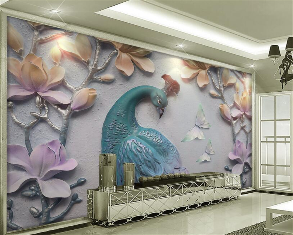 Beibehang 3D Wallpaper Stereoscopic Embossed Suya Magnolia Peacock Living Room TV Wall Decorative mural wallpaper for walls 3 d wallpaper for walls 3 d modern trdimensional geometry 4d tv background wall paper roll silver gray wallpapers for living room